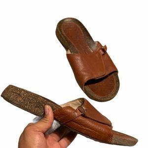 Teva Brown Leather Slide Sandals Size 9.5